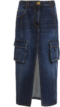 Balmain Mid-Rise Denim Pencil Skirt