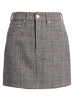 Helmut Lang Femme Hi Plaid Virgin-Wool Mini Skirt