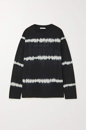 Tie-dyed Organic Cotton-jersey Top - Black