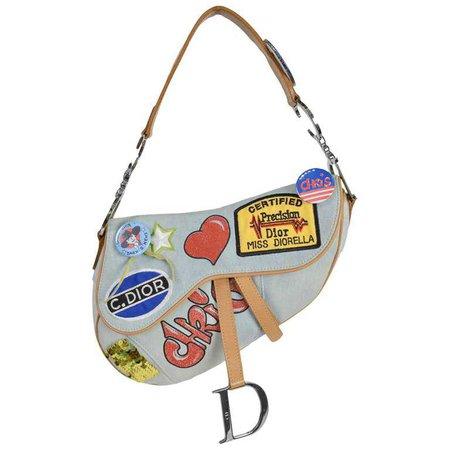 Christian Dior 'Speedway' Limited Edition Denim Saddle Bag For Sale at 1stdibs