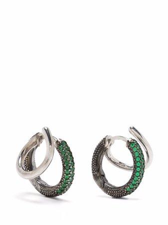 Panconesi emerald embellished hoop earrings silver & green AO182721 - Farfetch