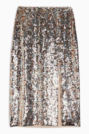 Silver Leopard Print Sequin Pencil Skirt | Topshop