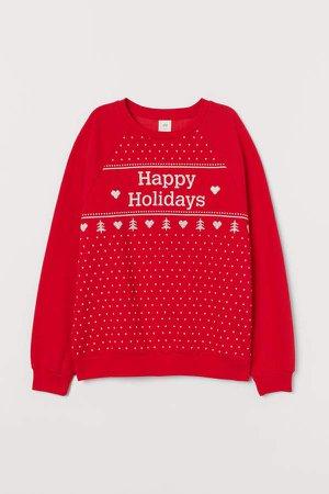 Printed Sweatshirt - Red