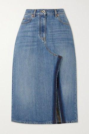 Denim Midi Skirt - Blue
