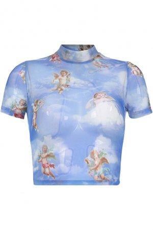 Women's Fashion Angel Baby Printed Mock Neck Short Sleeve Slim Fit Cropped Mesh T-Shirt - Beautifulhalo.com