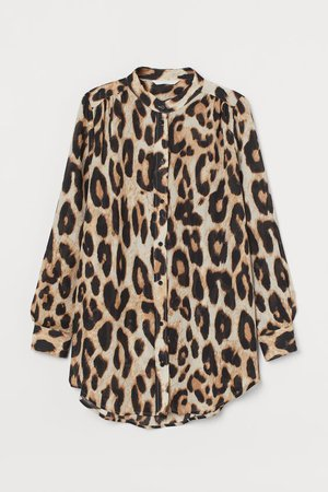 Patterned Blouse - Beige/leopard print - Ladies | H&M US
