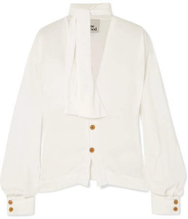 Wilma Pussy-bow Crepe De Chine Blouse - Off-white