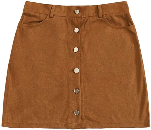 WDIRARA Women's Casual Mid Waist Button Front Solid Mini Short Suede Skirt Brown
