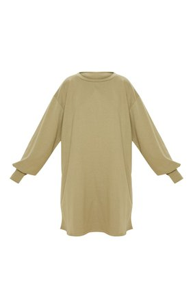 Sage Green Oversized Sweater Dress   Dresses   PrettyLittleThing USA