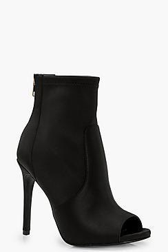 Nadia Peeptoe Satin Sock Boots