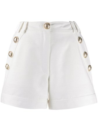 Shop white Balmain button-embellished tailored shorts with Express Delivery - Farfetch