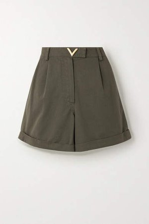 Embellished Cotton-twill Shorts - Green