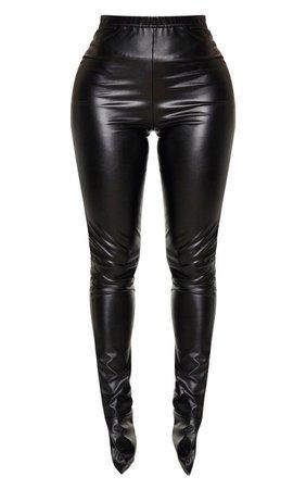 Shape Black Pu Split Hem Trouser   Curve   PrettyLittleThing USA