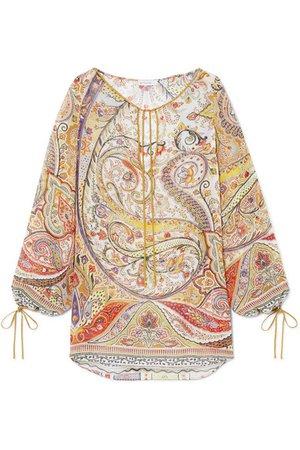 Etro | Tie-detailed paisley-print chiffon blouse | NET-A-PORTER.COM