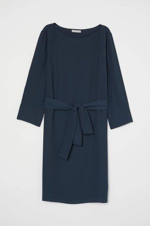 Dress with Tie Belt - Turquoise