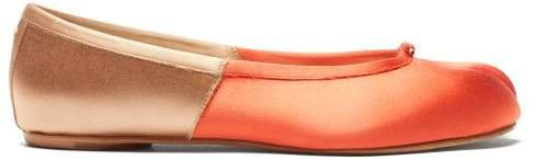 Tabi Split Toe Satin Flats - Womens - Orange Multi