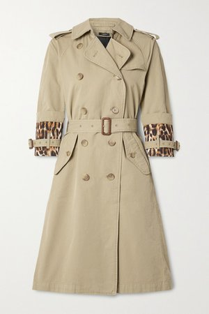 Belted Satin-trimmed Cotton-gabardine Trench Coat - Beige