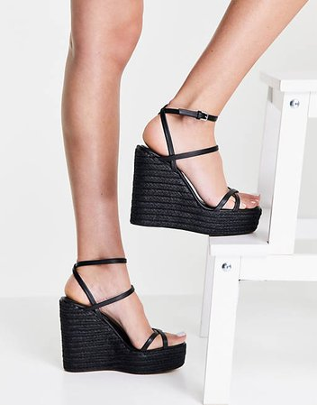 Topshop Willa wedge sandals in black | ASOS