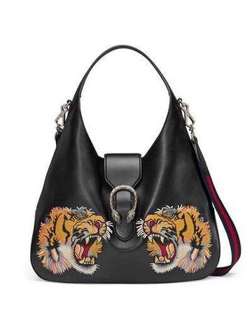 Gucci Tiger-Embroidered Leather Shoulder Bag
