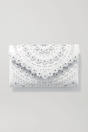 White Studded laser-cut leather clutch   Alaïa   NET-A-PORTER