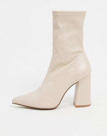 Truffle Collection heeled sock boots in beige | ASOS