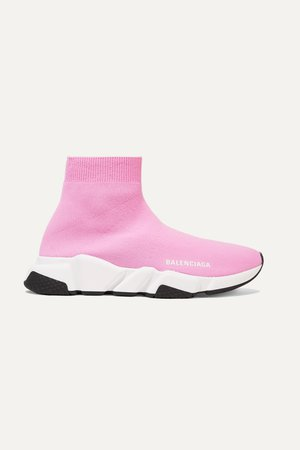Pink Speed stretch-knit high-top sneakers | Balenciaga | NET-A-PORTER