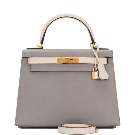 Hermès HSS Bi-Color Gris Mouette and Craie Epsom Sellier Kelly 28 bag