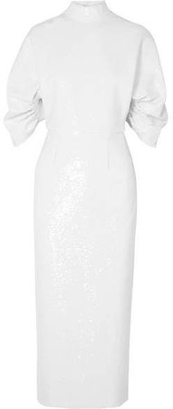 Shari Open-back Sequined Chiffon Midi Dress - White