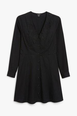 Long sleeve mini dress - Black - Mini dresses - Monki WW