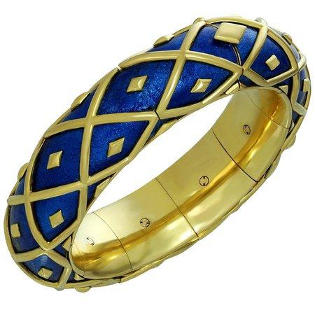 Tiffany & Co. Schlumberger Yellow Gold Blue Enamel Dot Losange Bracelet