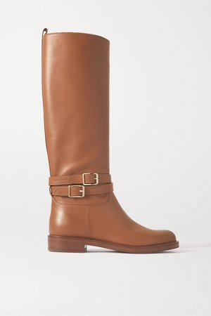 Tan Buckled leather knee boots | Gianvito Rossi | NET-A-PORTER