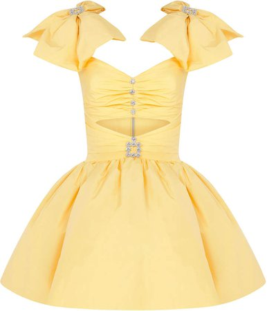 Raisa Vanessa Ribbon Shouldered Yellow Mini Dress