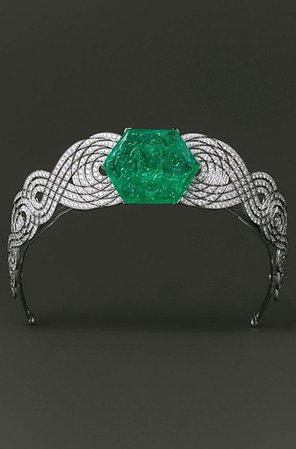 Cartier, Diamond and Carved Emerald Tiara