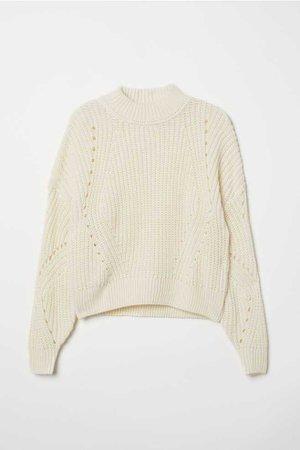 Джемпер рельефной вязки - Натуральный белый - Женщины | H&M RU
