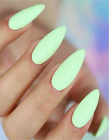 Light green matte nails