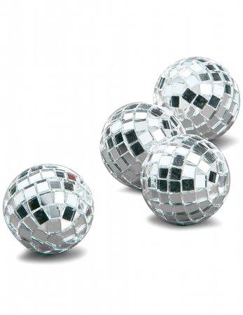 4 Silver Mini Disco Mirror balls : Decorations,and fancy dress costumes - Vegaoo