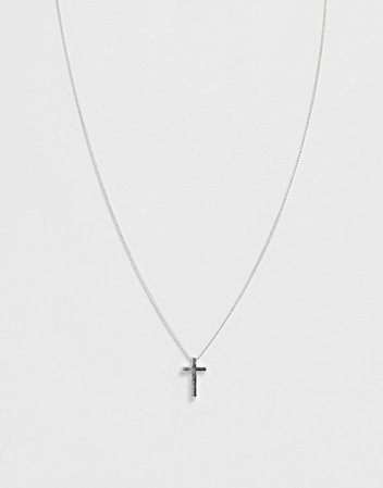 ASOS DESIGN necklace with ditsy cross in silver tone | ASOS