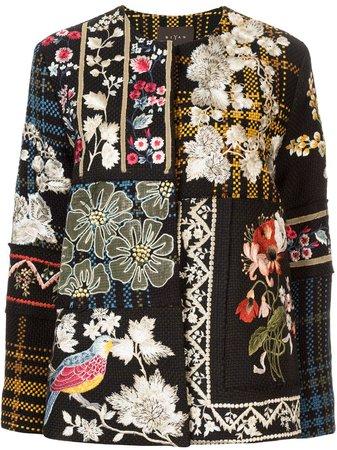 Biyan floral-embroidered Tweed Jacket - Farfetch