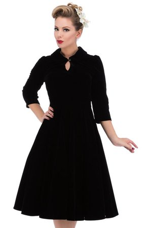Glamorous Black Velvet 50's Tea Dress | Ladies Gothic