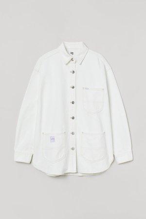 Denim Shirt Jacket - White