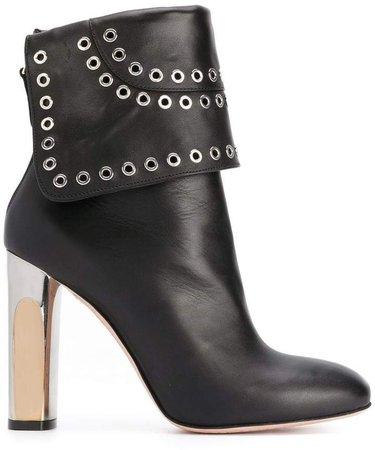 Bi-coloured Sculpted Heel Eyelet ankle boots