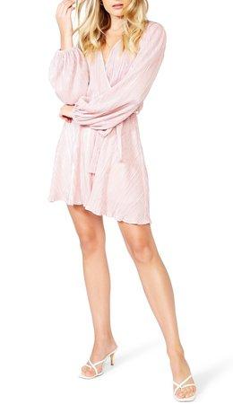 Bellissa Pleated Long Sleeve Faux Wrap Dress