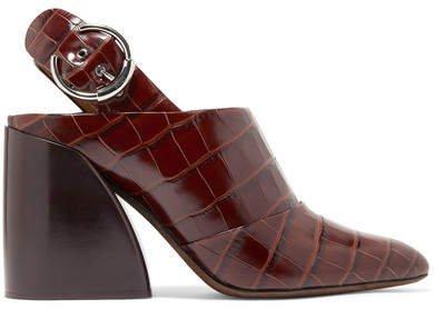 Wave Croc-effect Leather Slingback Pumps - Dark brown
