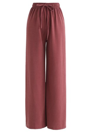 Drawstring Wide-Leg Pants in Red - Retro, Indie and Unique Fashion