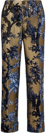 F.R.S For Restless Sleepers - Etere Devoré-lurex Straight-leg Pants - Blue