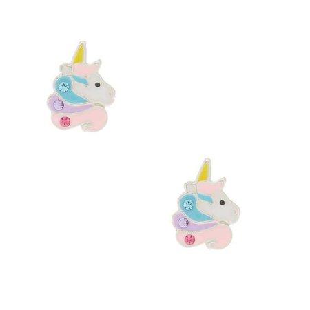 Sterling Silver Sherbet Unicorn Earrings   Claire's US