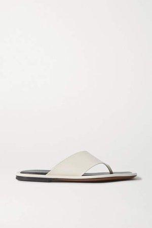 Lanke Leather Flip Flops - Cream