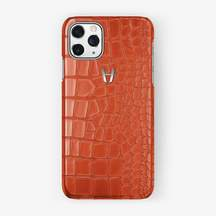Alligator Case iPhone 11 Pro   Orange Sunset - Stainless Steel – Hadoro Paris