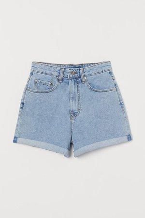Mom Shorts High Waist - Denim blue - Ladies   H&M US