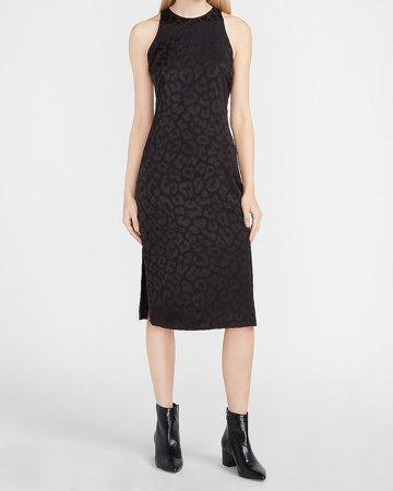Leopard Jacquard Midi Slip Dress
